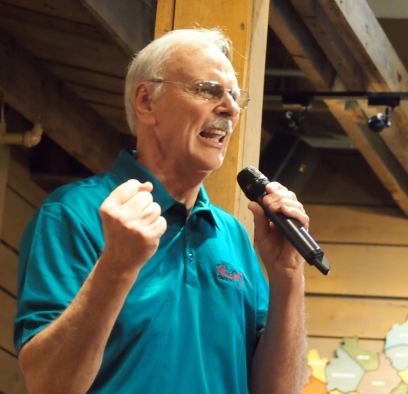 """Bass singer Bob Abbott delivers a soulful verse of """"I'd Rather Have Jesus"""" during a concert at the Kentucky Music Hall of Fame in March."""