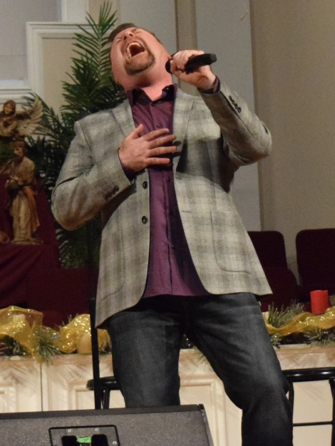 Steve Ladd sings at Sand Spring Baptist.