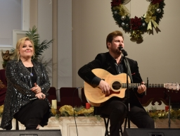 Jim and Melissa Brady perform their first full gospel concert as a duet at Sand Spring Baptist Church Monday night.