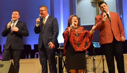 The Perrys perform at Sand Spring Baptist Church. From left are Andrew Goldman, Troy Peach, Libbi Stuffle and Jared Stuffle.