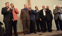 The Kingsmen invited The Noblemen, a local group, to join them onstage for a while Thursday, May 30, at Christiansburg, Baptist Church.