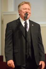 His Heart baritone Bill Sowder, the group's founder, sings at Sand Spring Baptist.