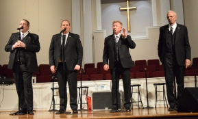 His Heart sings at Sand Spring Baptist Church, opening for Triumphant Quartet on June 14. From left are Kyle Harris, Jeremy Dickerson, Bill Sowder and Bob Abbott.
