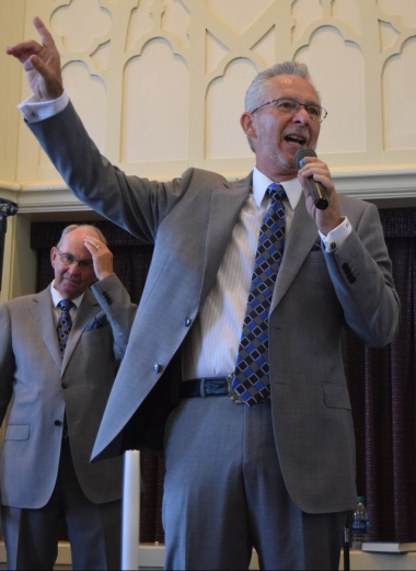 Baritone Joe Hampton sings during The Noblemen Quartet's concert at David's Fork Baptist Church.