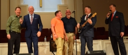 The Old Time Preachers Quartet with some local talent at Sand Spring Baptist Church in September, 2019. From left are George Frederic, Bob Sellers of the OTPQ, Chris Daniel of The Noblemen, Chris Woodyard of The Capital City Boys, and Adam Borden and Mike Holcomb of the OTPQ.